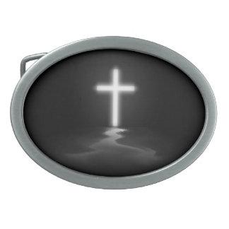 Cruz cristiana hebilla cinturón oval