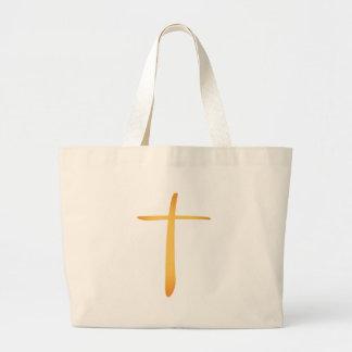 Cruz cristiana latina moderna bolsa de tela grande