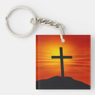 CRUZ CRISTIANA LLAVERO CUADRADO ACRÍLICO A UNA CARA