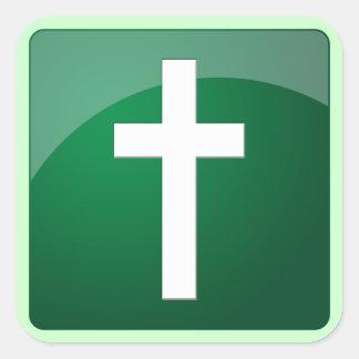 Cruz cristiana pegatina cuadrada