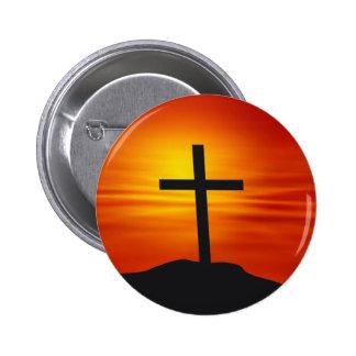 CRUZ CRISTIANA PIN REDONDO DE 2 PULGADAS