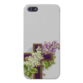 Cruz cristiana púrpura iPhone 5 cobertura