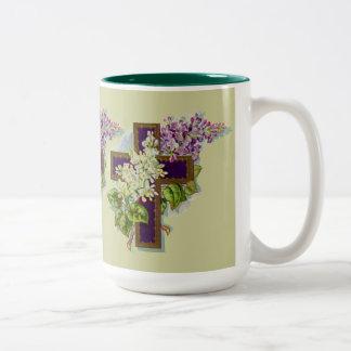 Cruz cristiana púrpura tazas de café