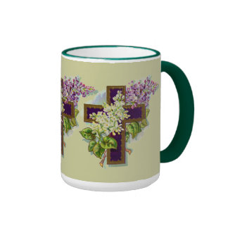 Cruz cristiana púrpura taza de café