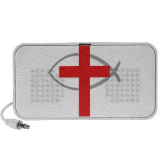 Cruz cristiana roja con los pescados Ichthys de Je Mp3 Altavoces