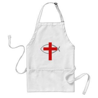 Cruz cristiana roja con los pescados Ichthys de Je Delantal