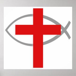 Cruz cristiana roja con los pescados Ichthys de Je Poster