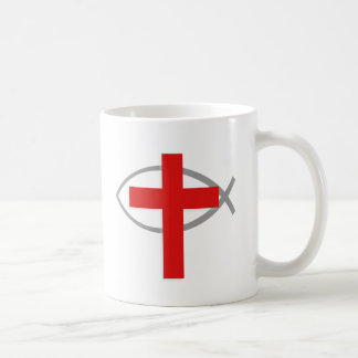 Cruz cristiana roja con los pescados Ichthys de Je Taza