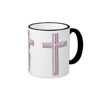 Cruz cristiana taza de dos colores