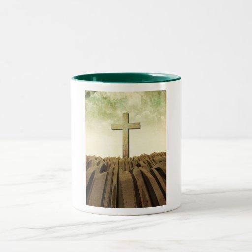 Cruz cristiana taza dos tonos