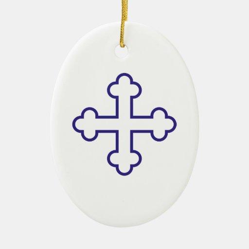 cruz cuadrada azul de los apóstoles o cruz floreci ornamente de reyes