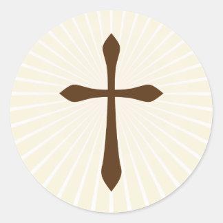 Cruz de Brown en los pegatinas abstractos poner Pegatina Redonda