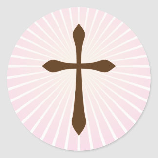 Cruz de Brown en los pegatinas abstractos rosados Pegatinas Redondas