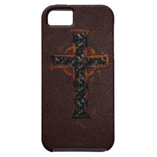 Cruz de Brown y del naranja iPhone 5 Case-Mate Cárcasas