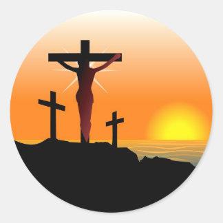 Cruz de Calvary de Pascua Pegatina Redonda
