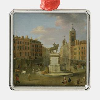 Cruz de Charing, con la estatua de rey Charles I a Adorno Navideño Cuadrado De Metal