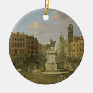 Cruz de Charing, con la estatua de rey Charles I a Adorno Navideño Redondo De Cerámica