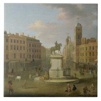 Cruz de Charing, con la estatua de rey Charles I a Azulejo Cuadrado Grande