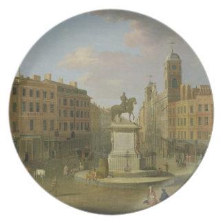 Cruz de Charing, con la estatua de rey Charles I a Plato De Comida