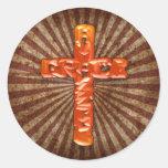 Cruz de cobre pegatina redonda