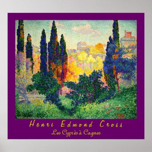 Cruz de Enrique Edmundo: Cipreses en Cagnes Poster