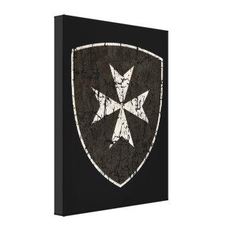 Cruz de Hospitaller de los caballeros, apenada Impresión En Lienzo Estirada
