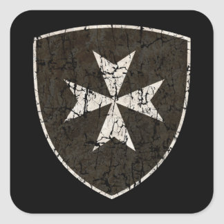 Cruz de Hospitaller de los caballeros, apenada Pegatina Cuadrada