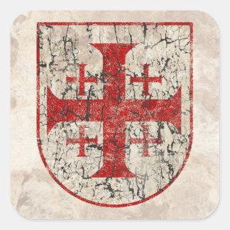 Cruz de Jerusalén, apenada Pegatina Cuadrada