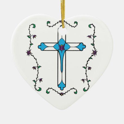 Cruz de Jesús Adorno Navideño De Cerámica En Forma De Corazón