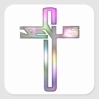 Cruz de Jesús Pegatina Cuadrada