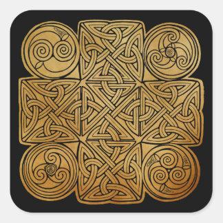 Cruz de Knotwork del Celtic Pegatina Cuadrada