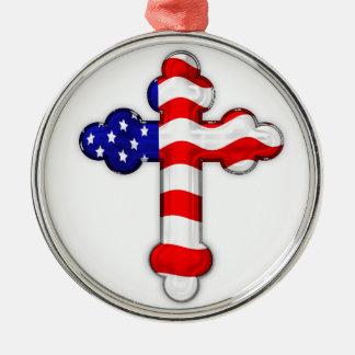 Cruz de la bandera americana adorno navideño redondo de metal