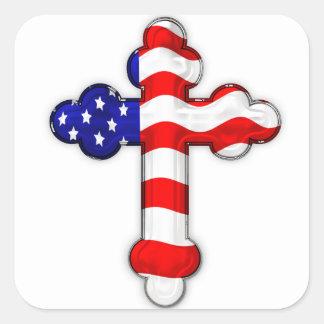 Cruz de la bandera americana pegatina cuadrada