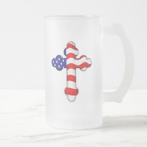 Cruz de la bandera americana tazas