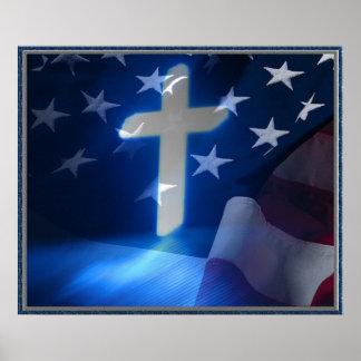 Cruz de la bandera americana y del cristiano, fasc posters