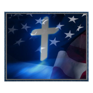 Cruz de la bandera americana y del cristiano, fasc póster