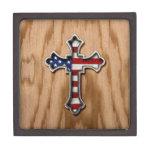 Cruz de la bandera de los E.E.U.U. Caja De Regalo De Calidad