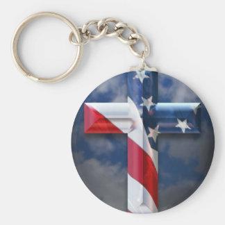 Cruz de la bandera de los E.E.U.U. Llavero Redondo Tipo Pin
