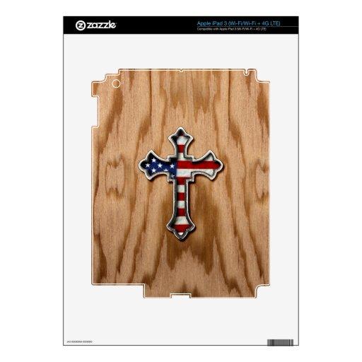 Cruz de la bandera de los E.E.U.U. Pegatina Skin Para iPad 3