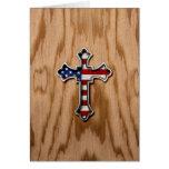 Cruz de la bandera de los E.E.U.U. Tarjetón