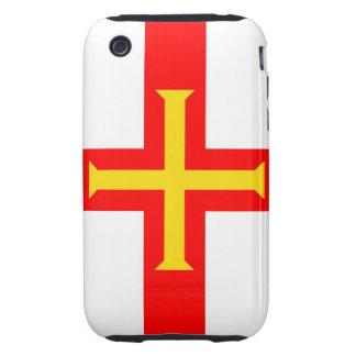 cruz de la caja de la bandera de país de Guernesey Funda Though Para iPhone 3