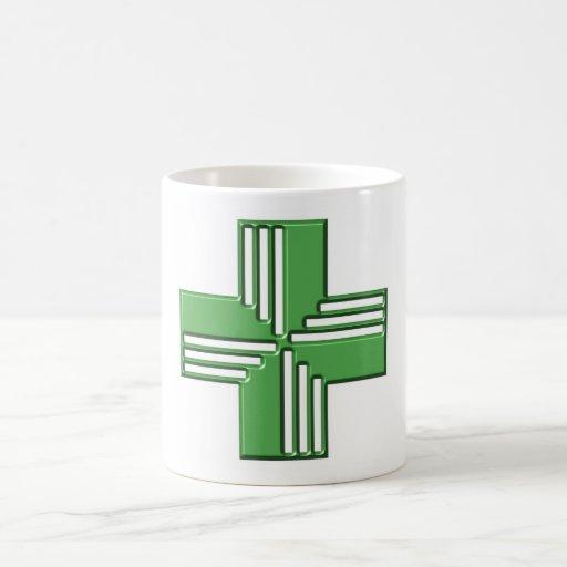 Cruz de la farmacia taza de café