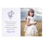 Cruz de la lila con la foto religiosa de las flore comunicados personalizados