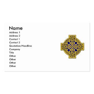 Cruz de la manera del Celtic 4 en oro y azul Tarjetas De Visita