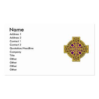 Cruz de la manera del Celtic 4 en oro y púrpura Tarjetas De Visita