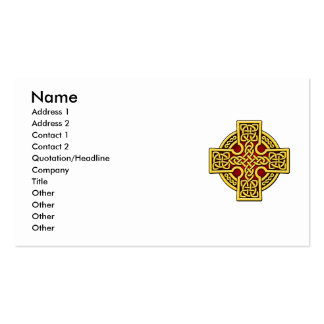 Cruz de la manera del Celtic 4 en oro y rojo Tarjetas De Visita