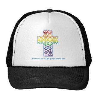 Cruz de la paz del arco iris gorros