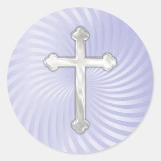 Cruz de la perla de la plata del giro de la lila pegatina redonda
