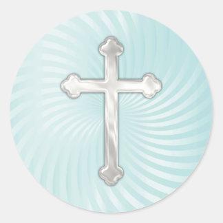 Cruz de la perla de la plata del giro de la pegatina redonda