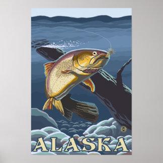 Cruz de la pesca de la trucha - sección - viaje de poster